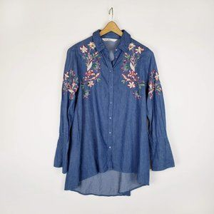 Zara Basic embroidered chambray button front top S